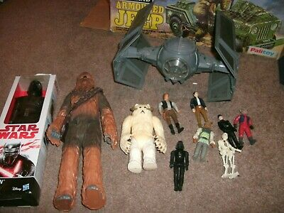 VINTAGE STARWARS figures and tie fighter   large figures aswell