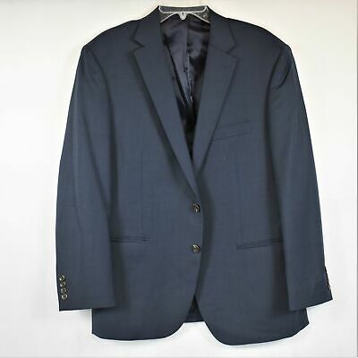 Chaps Mens Navy Blue Single Breast 2 Button Single Vent Suit Jacket Used