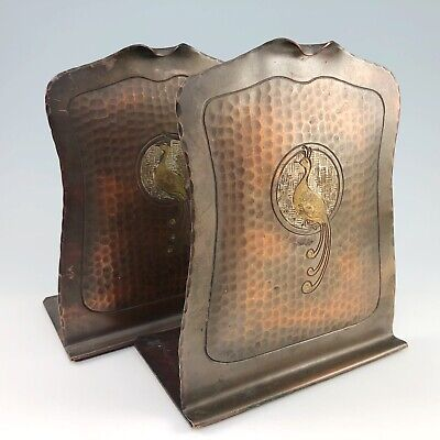 Craftsman Studios Copper Bookends Hammered Peacock Arts Crafts Mission Vintage