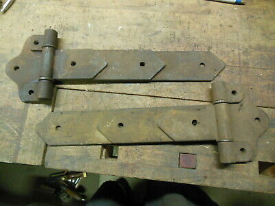 vintage T strap hinges large heavy duty barn door hardware old steel tool