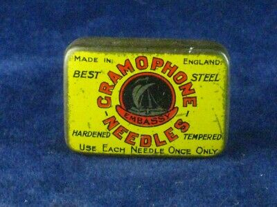 39892 Old Antique Vintage Gramophone Needle Tin Box Record Player Embassy