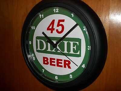 Dixie 45 New Orleans Beer Bar Man Cave Advertising Black Wall Clock Sign