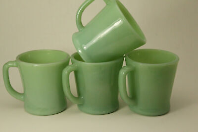 Vintage Fire King Restaurant Ware D Handle Lot Of 4 Coffee Mugs (ANT2734)