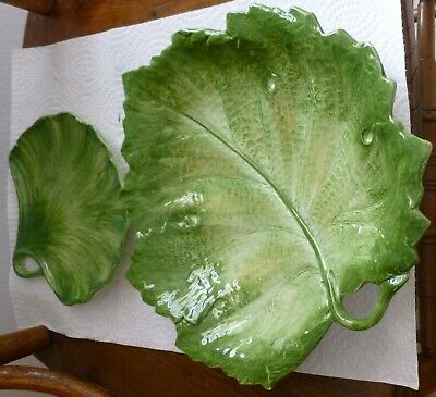 "Green Leaf Design SAN MARCO NOVE ITALY 11"" X 10"" and 6.5"" X 7"" PLATTER Set of 2"