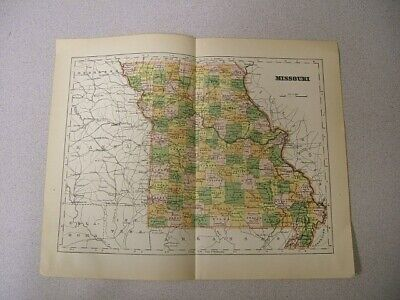 Map of Missouri with Railroads, Counties, Towns Color Plate circa 1900
