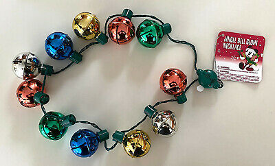 Disney Parks Mickey Mouse Icon Jingle Bell Light Up Necklace NEW