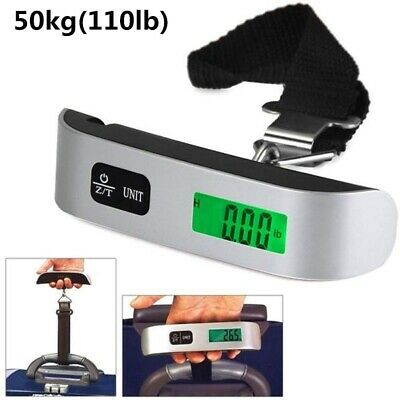 110LB Portable Travel LCD Digital Hanging Luggage Scale Electronic Weight 50KG