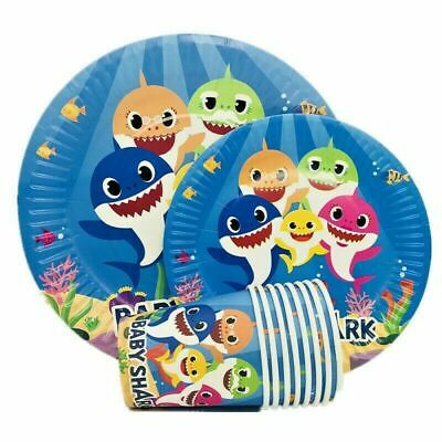 Baby Shark Party Supplies Straws Alphabet Flag Decoration for Kids Girls Gift