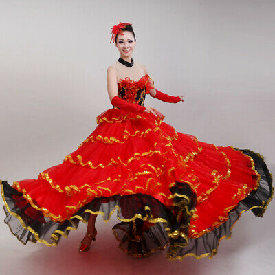 Lady Ruffle Layer Dance Dress Swing Flamenco Waltz Modern Practice Dancewear