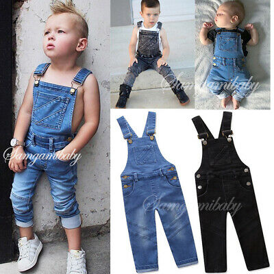 Kids Baby Boy Girl Denim Jumpsuit Romper Toddler Jeans Dungarees Outfits Clothes