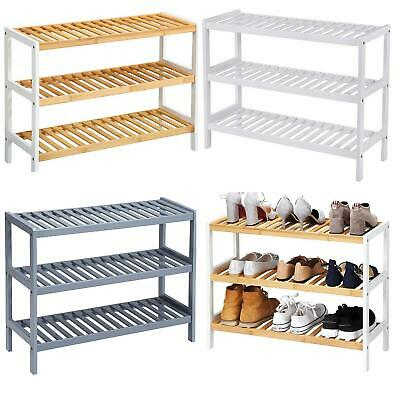 3 Tier Natural Wooden Bamboo Shoe Racks Storage Organiser Stand Shelf Unit