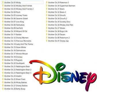 New Disney Character Embroidery Sets 1 To 41 - Download Only Brother  Pes Format