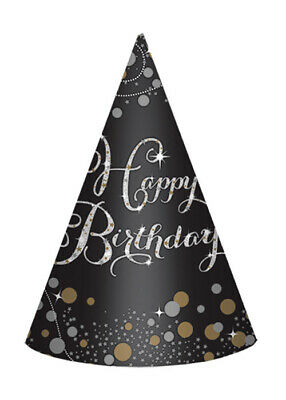 Black and Gold Happy Birthday Party Hats Pk8