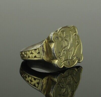 Magnificent Ancient Roman Silver Gilt Ring - Circa 5Th/6Th Th Century Ad