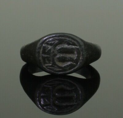 Superb Ancient Medieval Merchants Bronze Seal Ring - Circa 15Th C Ad