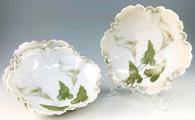 RS Prussia Berry Bowls Scalloped Porcelain Calla Lily Set Of 3 Antique Germany