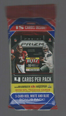 2019 Panini Prizm Football Factory Sealed Hanger Cello Pack - Red White Blue