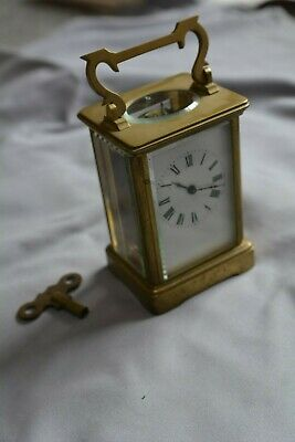 Antique CARRIAGE CLOCK with key. Enamel dial.