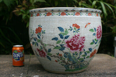 Superb Large 19th C. Antique Chinese Porcelain Hand Painted Flower Pattern Pot