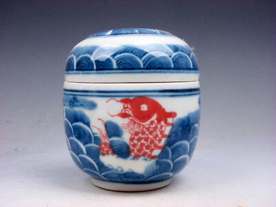 Blue&White Porcelain Ox-Blood Red Carp Fishes Painted Tea Caddie Jar #06231802