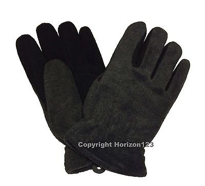THERMAL Heat-Lock Insulated-Deer Leather Gloves-Black-GRAY- WOMENS Large-Size 8