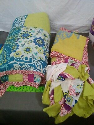 Vintage Patchwork Quilt / Comforter King 3 pillow shams bed skirts dust ruffle