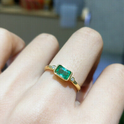 1.05 Ct Colombian Emerald & Diamond Ring in 14k Yellow Gold Over For Women