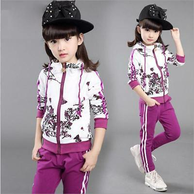Kids Girls Clothes Jacket Pants Girl Long Sleeve Tracksuit Sport Suit Size 3-9 Y