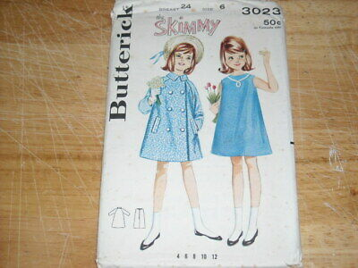 👼🏻 1964 Butterick #3023 - Girls Tent Dress & Double Breasted Coat Pattern 6 Ff