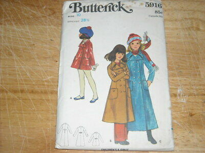👼🏻 1970 Butterick #5916 - Girls ( 3 Length ) Double Breasted Coat Pattern 10Ff