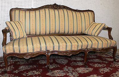 Antique Country French Hand Carved Walnut Louis XV Canape Sofa Gold Trim c 1860