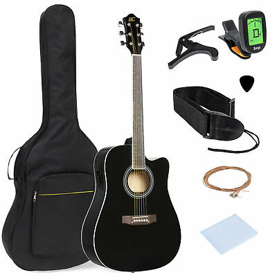 BCP 41in Full Size Acoustic Electric Cutaway Guitar Set w/ Capo, E-Tuner, Bag