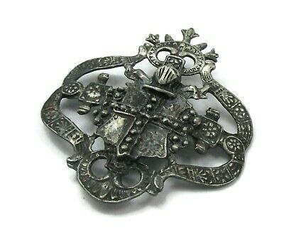 Antique Vintage Nouveau Sterling Silver Medieval Revival Knight HUGE Pin Brooch