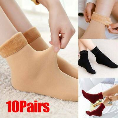 10 pair Women Solid Winter Thick Warm Fleece Lined Thermal Stretchy Sock Elastic