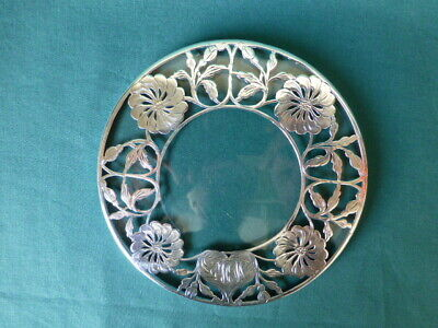 Antique Overlay Sterling Silver and Glass Trivet