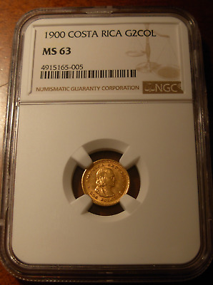Costa Rica 1900 Gold 2 Colones NGC MS63