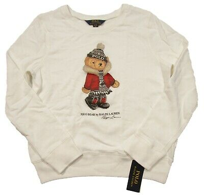 Polo Ralph Lauren Girls White Holiday Bear Terry Pullover Sweatshirt