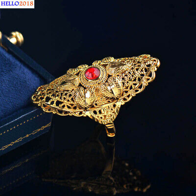 Gold Plated Red Cubic Zirconia Hollow Pattern Finger Rings For Women Jewelry