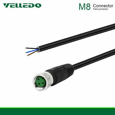 VELLEDQ Pre-Wired M8 Connector 3-Pin Female Adapter Plug With 2M PUR Cable