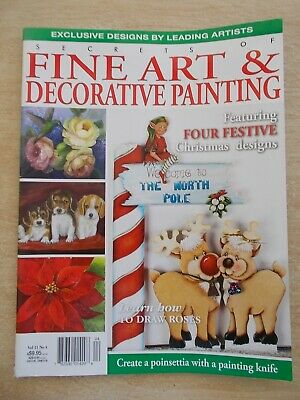 Fine Art & Decorative Painting Vol 21 #4~Puppies~Poinsettia~Shells~Xmas~Waratah