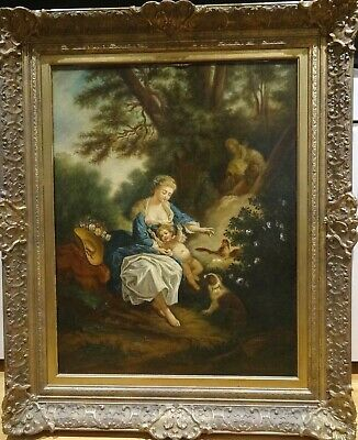 Large 19th century French Mother & Baby Woodland Animals Landscape Antique CALS