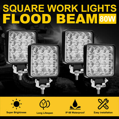 4x 4 inch 200W CREE LED Lights Bar SPOT FLOOD 3Row Offroad Work Waterproof Lamp