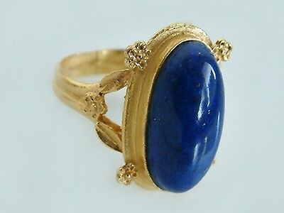 Solid Gold Ring 750 in Antique Look 18 CT Large Lapis Lazuli Women's