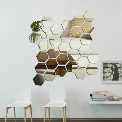 Mirror Tiles Mosaic Wall Stickers Self Adhesive Bedroom Reflective 3D Art Decals