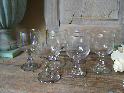 Set 6 Antique French Very Large Wine Water Glasses Balusters Ball Circa 1850