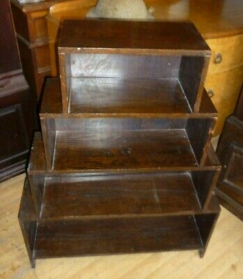 Antique Art Deco Solid Oak Stepped Bookcase