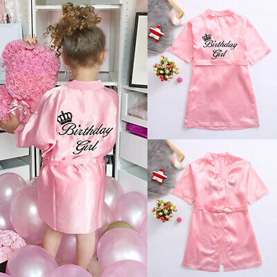 2PCS Toddler Baby Girl Kid Letter Satin Kimono Dress Robe Bandage Set Sleepwear