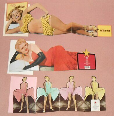 MARILYN MONROE - Set Of 3 Color Foldout Greeting Cards 1987 & 1992 PORTAL/USA
