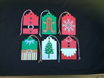 Handmade Merry Christmas Card large tags with ties
