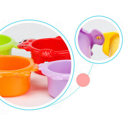 Bright Plastic Stack Cup Funny Water Bath Toy Cartoon Colorful Swimming Play